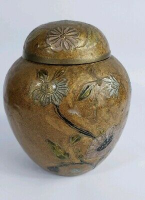 Solid Brass Ginger Jar Made in India Gold Bronze Brown Floral