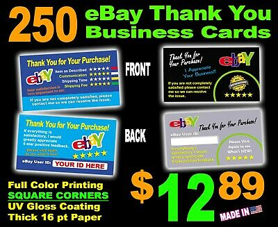 EBAY THANK YOU CARDS | Full Color | ELEGANT | TWO SIDED Must See!!!  QTY = 250
