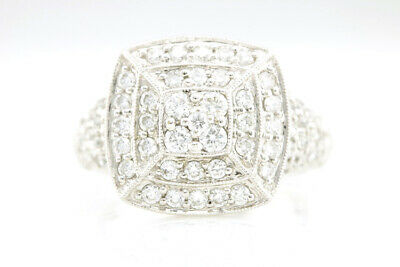 18K White Gold Estate Art Deco 1.12CT Pyramid Double Halo Diamond Milgrain Ring