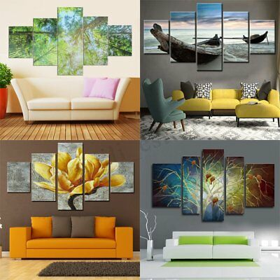 5Pcs Nature Modern Canvas Print Painting Wall Art Picture Home Decor Unframed