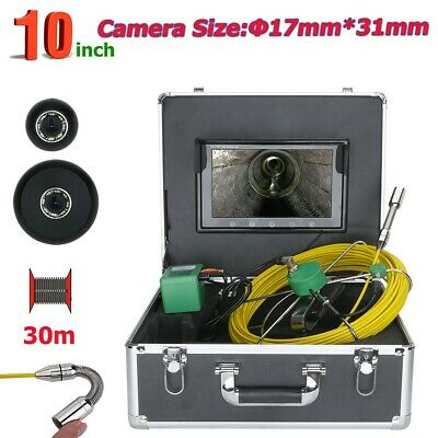 "30M 10"" 17mm Drain Pipe Sewer Inspection Camera System 1000TVL 8pcs LED Lights"