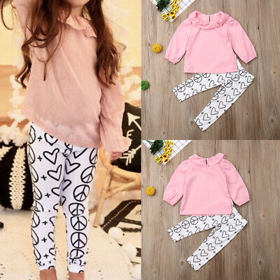 2PCS Toddler Kids Baby Girls Clothes T-shirt Tops+Heart Floral Pants Outfits Set