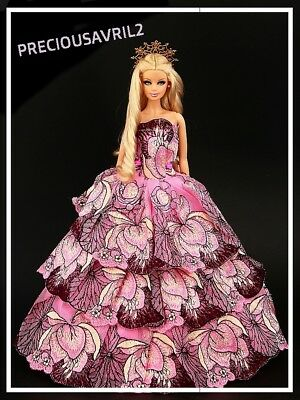 Brand new Barbie doll clothes outfit princess wedding pink patterned dress