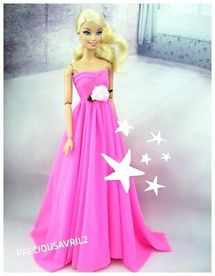 New barbie doll clothes clothing outfit evening bright pink dress party