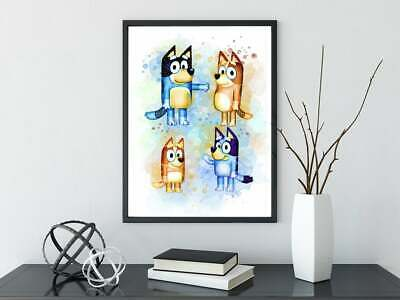 Bluey Watercolour A4 Print Nursery/Home Print personalised