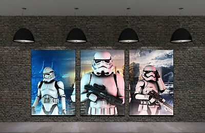 Framed HD Print Oil Painting Home Decor Art on Canvas Star Wars Stormtrooper 3PC