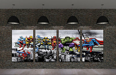 Framed HD Print Oil Painting On Canvas Marvel and DC Superheroes On A Lunch 4PCS