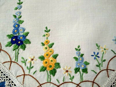 Stunning Hollyhock Garden Vintage Hand Embroidered Doily & Hand Tatted Edge