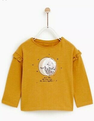 56ee204a90 NEW ZARA MINI Baby Girl Moon Stars Sparkle Interactive Long Sleeve ...