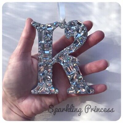 Car Hanging Mirror Ornament Crystal Any Initial Letter Charm Pendant Bling