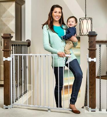 Regalo 2-in-1 Stairway and Hallway Wall Mounted Baby Gate, Bonus Kit, White