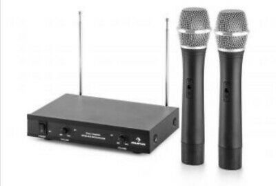Set 2 Microfoni Senza Filo wireless con base, karaoke, canto