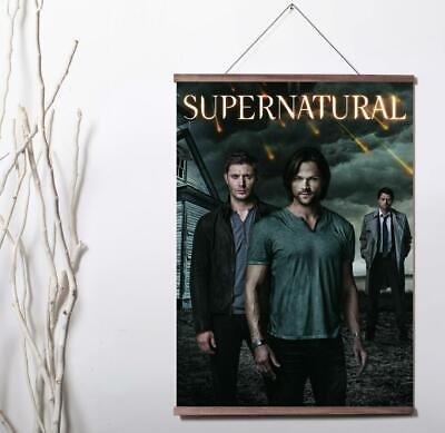 SUPERNATURAL JARED PADALECKI AND JENSEN ACKLES Art Canvas poster wood scroll