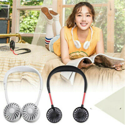 Dual Fan Summer 3 Speeds Portable Fan Lazy Neck Band Hanging USB Rechargeable CA
