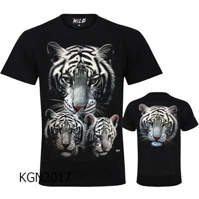 Unisex t-shirt  White Siberian Tiger Print Front & Back By WILD GOOD QUALITY