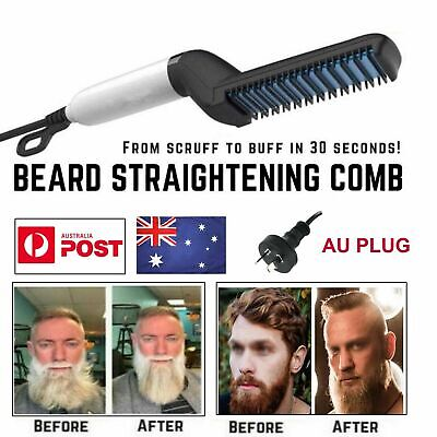 Quick Beard Straightener Hair Styler Multi functional Comb Curler Show Cap Men