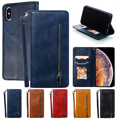 For iPhone 8 Plus 7 6S XS Max XR Zipper Magnetic Leather Wallet Case Stand Cover