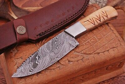 "8.4"" Custom Hand Made Full Tang Damascus Hunting Knife Handle Olive Wood"