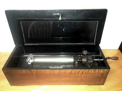 ANTIQUE 1800s Cylinder 10 Song Swiss Music Box by JACOT'S  Walnut Case