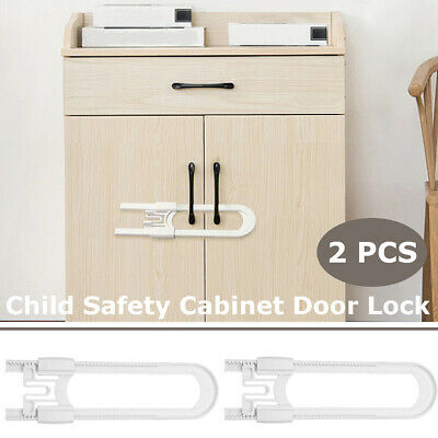 2 Pcs Child Baby Safety Lock Drawer Door Cabinet Cupboard U Shape Security Locks