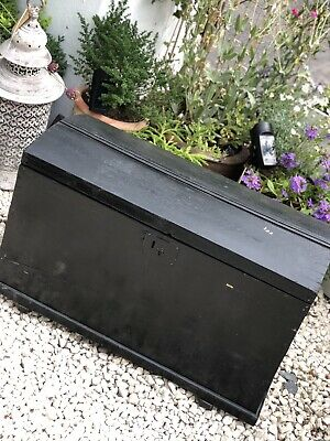 Antique Victorian Pine Travel Trunk Chest Dome Top