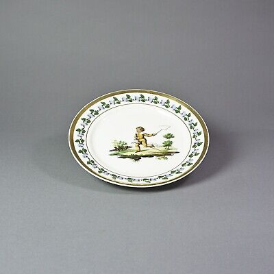 Antique Porcelain Plates with Children Motif Boy with Hobby Hand Painted 1.91EH