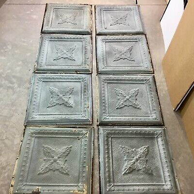 "Reclaimed Pressed Tin Ceiling Tiles~Lot of 8~24"" Square~Metal~Green~Antique~#2"