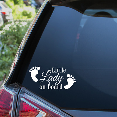 Little Lady On Board Car Sticker Child Baby On Board Window Bumper Decal
