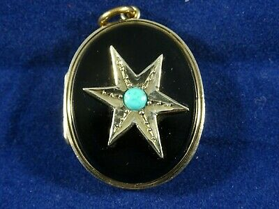 Victorian 9ct Gold & Jet Oval Opening Locket/Pendant &Turquoise Circa 1860-90