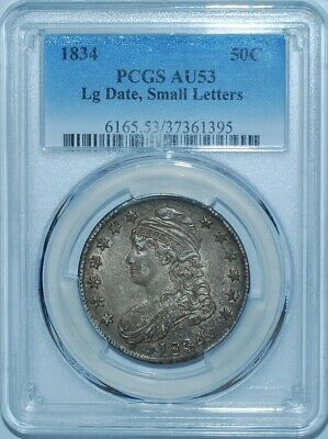 1834 PCGS AU53 Large Date Small Letters Capped Bust Half Dollar