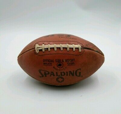 Vintage SPALDING LEATHER DISPLAY FOOTBALL J2-V Official size DOESN'T HOLD AIR