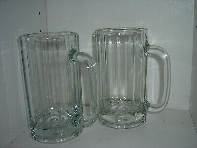 Lot of 2 Vintage Crisa Thick HEAVY CLEAR GLASS BEER MUGS Stein Bar Ware 18 oz