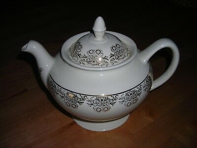 Vintage Homer Laughlin EGGSHELL NAUTILUS Gold Filigree Footed Teapot J45N5