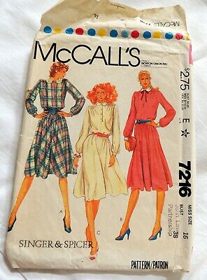 """Vintage 1980's - McCalls - Sewing Pattern 7216 - DRESS - 36"""" Chest"""