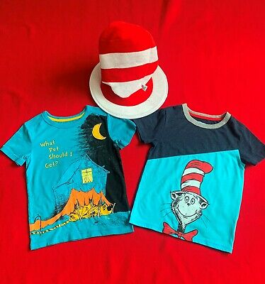 Boys Lot Size 4 Dr. Seuss 2 T-Shirts And Hat