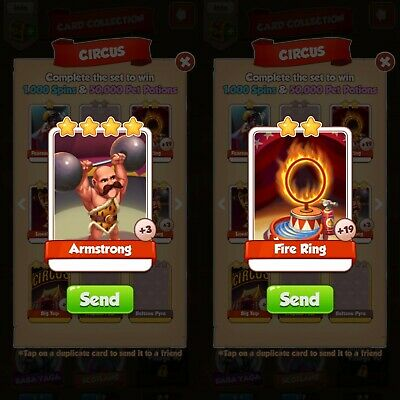 Coin Master cards fire ring and Armstrong