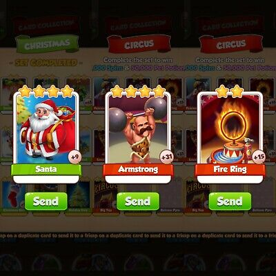 Coin Master Card fire ring, Armstrong and santa (sent asap)