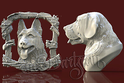 2 3D STL Models Animal Dog Panel CNC Router Carving Machine Artcam aspire Cut3D
