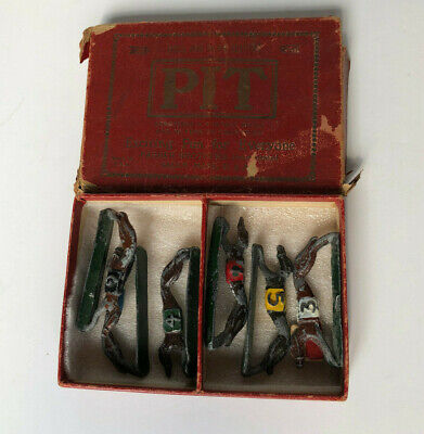 PIT Hunderennen Set Figuren - Greyhound Racing Game, England um 1930
