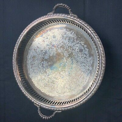 """Vintage W & S Blackinton Fine Silver Plate Footed 10"""" Tray Bowl Dish W&S Serving"""