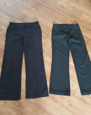 2 Pairs Girls Black School Trousers Age 12/13  Years