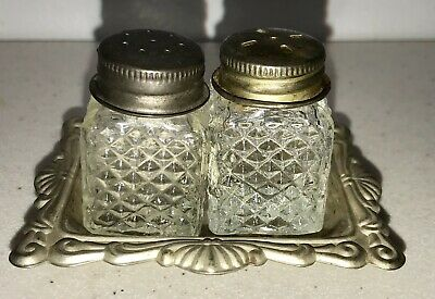 Miniature Cut Glass and Silver Plated Salt and Pepper Set MCM