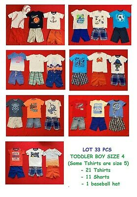 Euc Toddler Boys' Lot Size 4 / 4T Summer Clothes Mix And Match Outfits