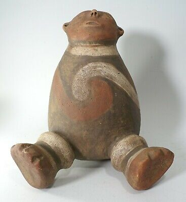 REPRO Pre Columbian era Vintage Mississippian Seated Sky Star God Watcher Vessel