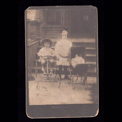 Antique Victorian Era Cabinet Card Photo Of Creepy Spooky Children & Toy Doll