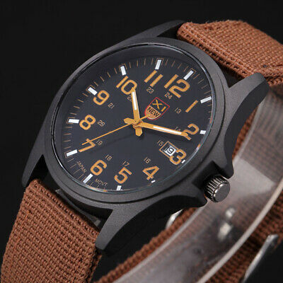 Fashion Men's Military Army Sport Analog Quartz Date Wrist Watches Nylon Band