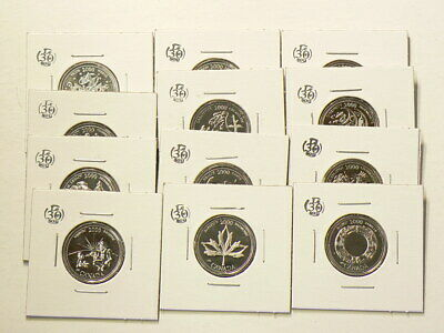 🍁 2000 Canada 25 Cents Prooflike Millenium Set Lot of 12 coins #3895
