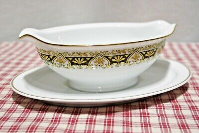 Noritake Nitto Ware Felicity 2001 Black, Gold Gravy Boat with Underplate MINT!