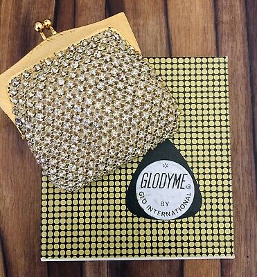 Rare vintage Glodyme by Glomesh diamante rhinestone crystal coin purse in box