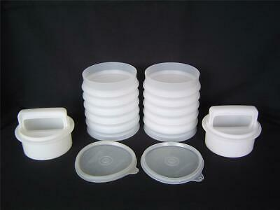 Vtg 18 Pc Lot Tupperware HAMBURGER KEEPERS PATTY PRESS With 2 Plunger Ring Sets